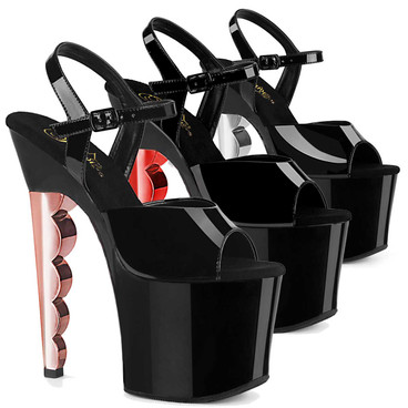 Scallop-709CH, 7 Inch Chrome Scalloped Heel Platform Sandal by Pleaser