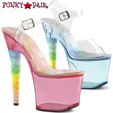Stripper Shoes | Unicorn-708T, Tinted Platform with Rainbow Unicorn Heel available color: Blue and Pink