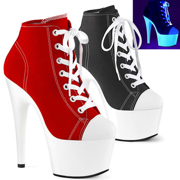 Adore-700SK-02, High Heel Platform Sneaker Ankle Boots by Pleaser
