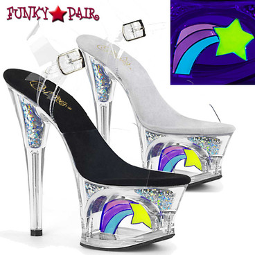 Pleaser | Moon-708RSS, 7 Inch Cut out Platform with Shooting Star Sandal