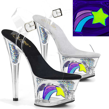 Moon-708RSS, 7 Inch Cut out Platform with Shooting Star Sandal by Pleaser
