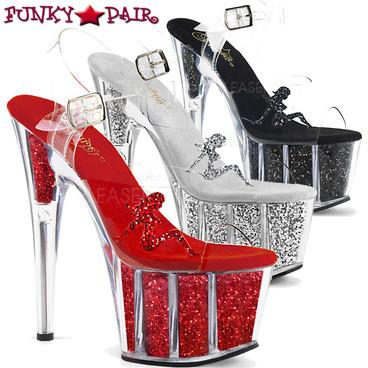 Pleaser Shoes| Adore-708GTG, Trucker Girl Platform Sandal with Glitter @Funkypair.com