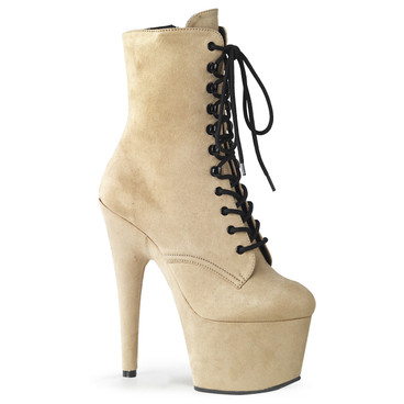 Adore-1020FS Beige Stripper Suede Ankle Boots by Pleaser