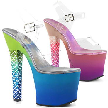 Clearance Stripper Shoes | Ariel-708Ombre, Thick Heel Mermaid Scale Ombre Platform Sandal
