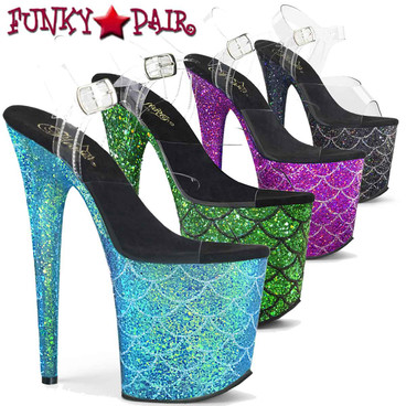 Pleaser | Flamingo-808MSLG, 8 Inch Glitter Mermaid Scale Sandal