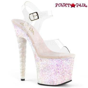 Pleaser | Unicorn-708LG, Glitter Platform Sandal with Unicorn Heel