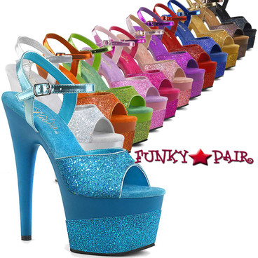 Pleaser Shoes | Adore-709-2G, Glitter Platform Sandal