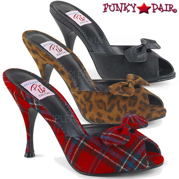 Pin Up Shoes | Monroe-08, Slide Shoes with Bow Color available: Leopard, Red Plaid, Black Faux Leather