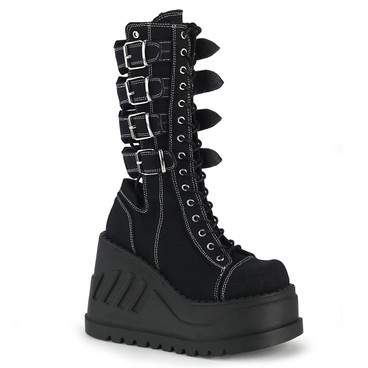 Stomp-210, Platform Wedge with Buckles Women's Demonia Boots