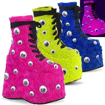 Slay-206 Raver Fuzzy Boot with Googly Eyes By Demonia