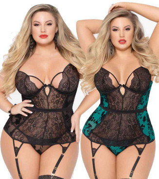 STM-10925X, Plus Size Mesh and Lace Bustier Set | Seven 'til Midnight