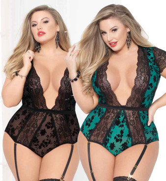 STM-10940X, Plus Size Flocked Mesh and Lace Teddy | Seven 'til Midnight