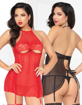STM-10934, Mesh and Lace High Neck Babydoll with Garters | Seven 'til Midnight color available: black , red
