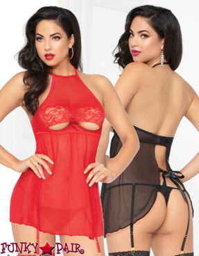 STM-10934, Mesh and Lace High Neck Babydoll with Garters | Seven 'til Midnight