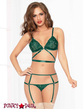 STM-10928, Lace Triangle Bra and Strappy Panty | Seven 'til Midnight