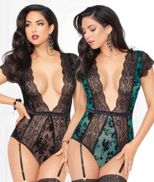 STM-10940, Flocked Mesh and Lace Teddy | Seven 'til Midnight color available: green, black