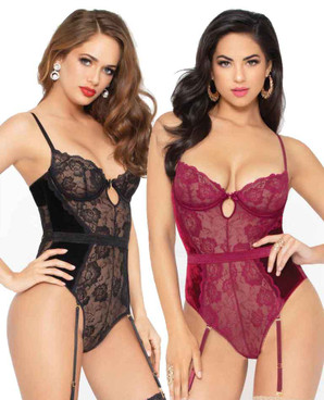 STM-10951, Velvet and Lace Keyhole Bodysuit | Seven 'til Midnight