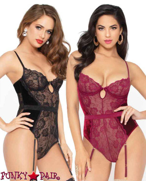 STM-10951, Velvet and Lace Keyhole Bodysuit | Seven 'til Midnight color available: black, wine