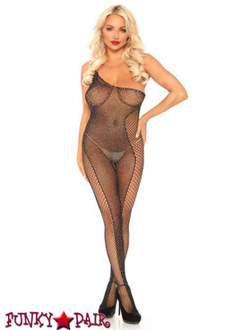Leg Avenue | LA89240, Crystalized Asymmetrical Fishnet Bodystocking