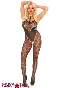 Leg Avenue | LA89235, Halter Floral Lace Bodystocking