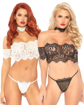 Leg Avenue | LA81573, Lace Crop Top with G-string color available: Black, White