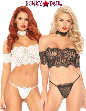 Leg Avenue | LA81573, Lace Crop Top with G-string | Funkypair.com