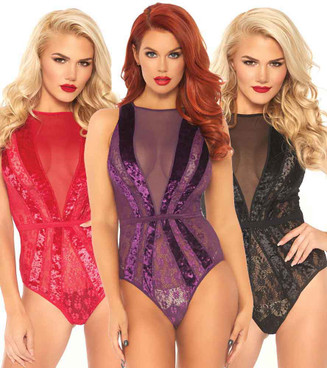 Leg Avenue | LA89236, Velvet and Floral Lace Starburst Teddy Color available: black, red, purple