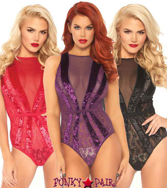 Leg Avenue | LA89236, Velvet and Floral Lace Starburst Teddy