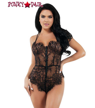Lace Strappy Teddy | Starline Lingerie SL9010 | FunkyPair.com