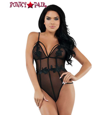 Strappy Black Mesh Teddy by Starline Lingerie (SL9011) front view