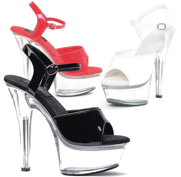 601-Juliet-C, Platform Clear Heel Sandal Color Available: Black, Red, White