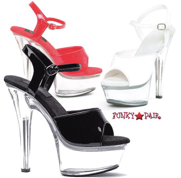Ellie Shoes | 601-Juliet-C,  Platform Clear Heel Sandal