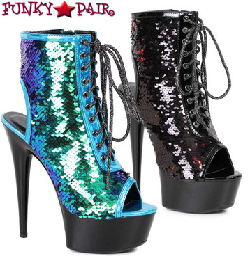Ellie Shoes | 609-Tinsley | Peep Toe Sequin Ankle Boots