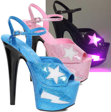 Ellie Shoes | 709-FREESIA, 7 Inch Heel Platform with Lite Up Star color available: black, pink, turquoise