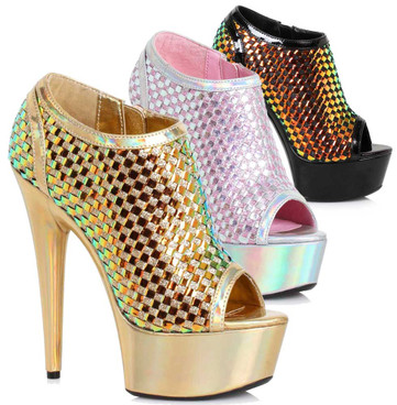 Ellie Shoes   609-Jaclyn, 6 Inch Ankle Boots with Weave Color Available: Black, Gold, Silver