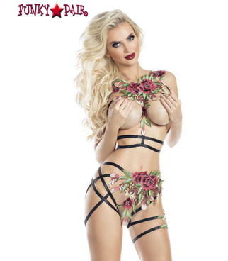 Rave Wear Flower Accent Cupless Bra and Bottom Lingerie (AB8084) | FunkyPair.com