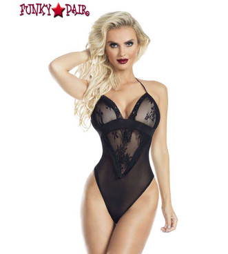 Lace and Mesh Halter Teddy RaveWear Lingerie | FunkyPair.com