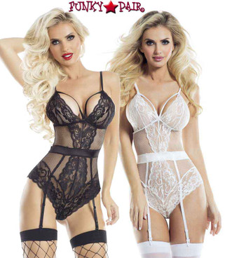 Lace Teddy with Bow RaveWear Lingerie (AB6081) | FunkyPair.com