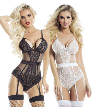 Lace Teddy with Bow Rave Wear Lingerie (AB6081) color available: black, white