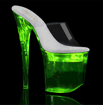"Pleaser Flashdance-801, 8"" Lite-up Stripper Shoes"