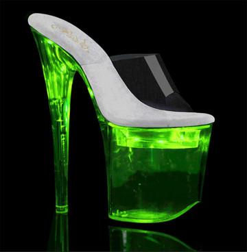 "Pleaser Flashdance-801, 8"" Lite-up Stripper Shoes"