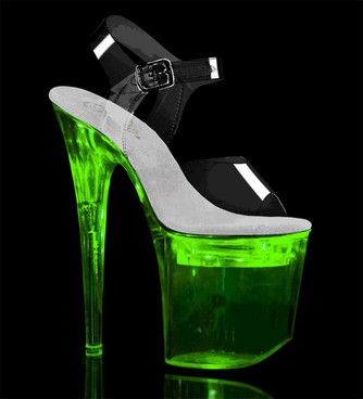 Flashdance-808, Lite-up Platform Ankle Strap Sandal by Pleaser