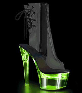 Flashdance-1018C-7, Clear Open Toe Ankle Boots with Lite-up Platform by Pleaser