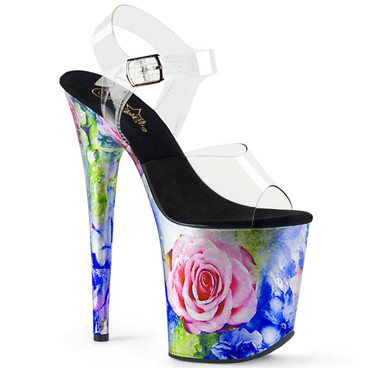 Flamingo-808MRP, 8 Inch Rose Print Platform Sandal by Pleaser