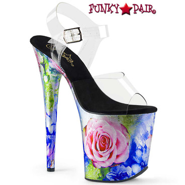 Pleaser | Flamingo-808MRP, 8 Inch Rose Print Platform Sandal