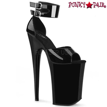 Pleaser | Infinity-975, Xtreme High Heel Ankle Wrap Platform Sandal | FunkyPair.com