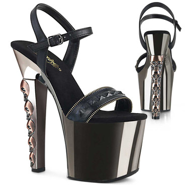 Hex-712, Skull Stack Heel with Stud on Vamp Platform Sandal by Pleaser