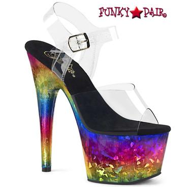 Pleaser | Adore-708MRB, 7 Inch Metallic Rainbow Print Platform Shoes