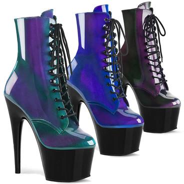 Pleaser | Adore-1020SHG, Ankle Hologram Platform Boots