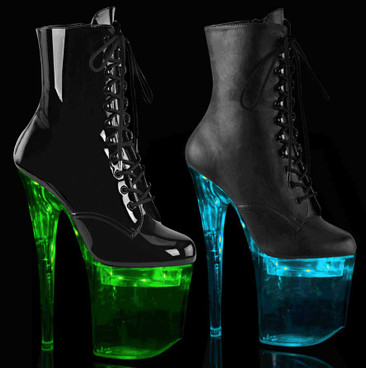 Pleaser Flashdance-1020-8, Lite-Up Platform Lace-up Ankle Boots